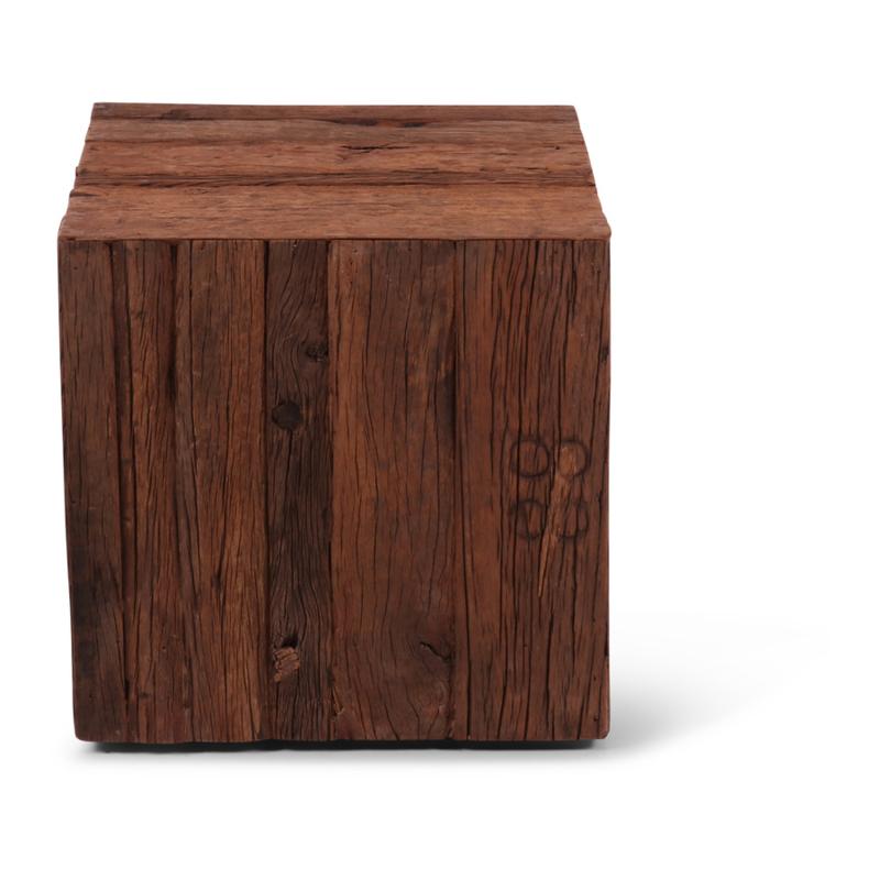 Truckwood railway houten bijzettafel sokkel zuil kolom landelijk stoer robuust 45 x 45 x 46 cm