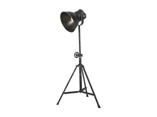 Industrieel metalen metaal zinken zink lampje buro sunburn driepoot grijs antraciet mat zwart old look bed leeslampje tafellamp tafellampje landelijk grijs stoer metaal