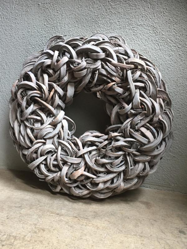 Grote Coco cut wreath 55 cm grey wash washed vergrijsd krul landelijk grijs