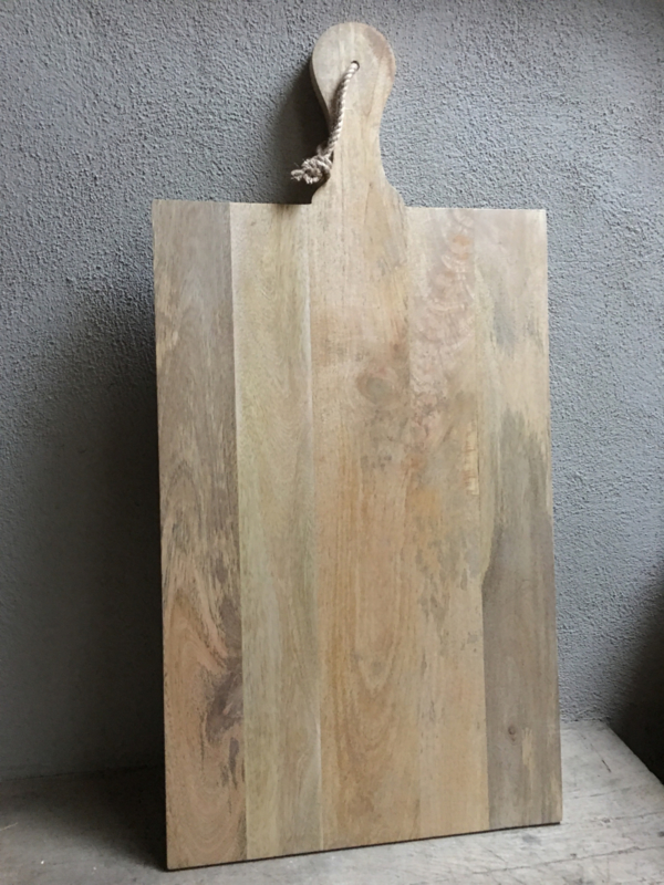 Mega grote Broodplank snijplank kaasplank werkplank werkblad hout aan grof jute touw landelijk stoer