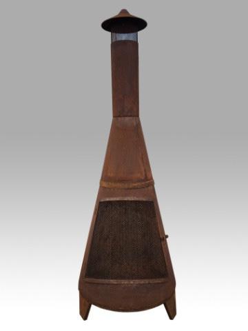 ijzeren tuinhaard tuinkachel 175 cm roest metaal open haard kachel