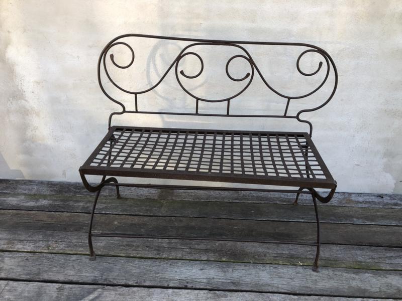 Romantisch antiek oud smeedijzeren bankje bankje bistro bistrobankje tuinbankje tuinbank bruin landelijk brocant sober stoer inklapbaar