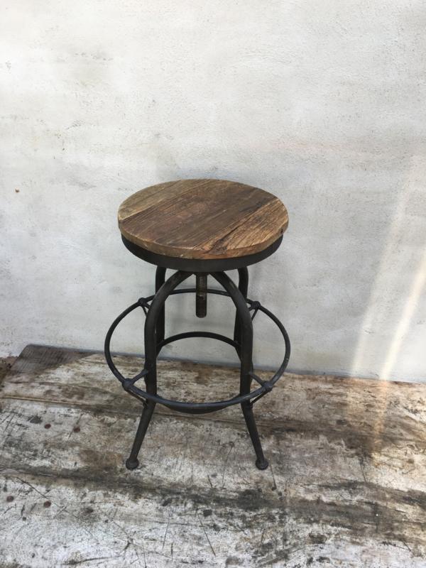 Industriele landelijke kruk barkruk eettafel hoge stoer hout metaal industrieel landelijk vintage new urban