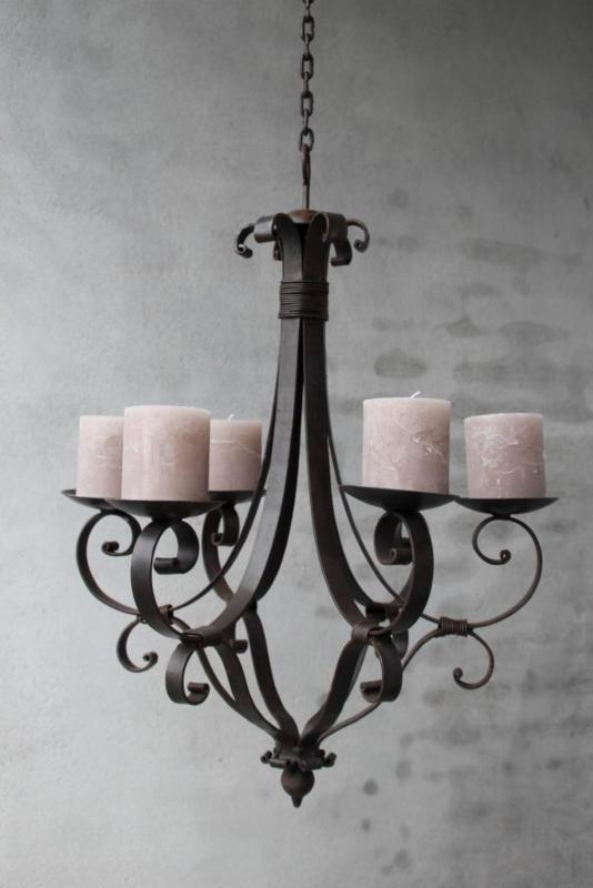 Metalen kroonluchter kaarsen stompkaarsen landelijk  43 x 53 cm