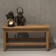 Stoer oud houten bankje bank tafel Sidetable  vintage landelijk industrieel schoolbank schoolbankje naturel hout met rugleuning