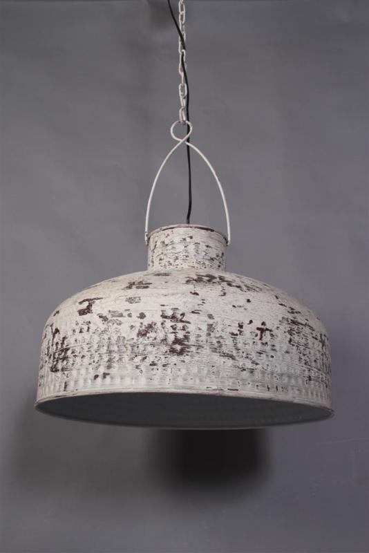 Metalen hanglamp wit grijs white grey whitewash doorgescheurd old look oud lamp 54 x 35 cm industrieel landelijk Ibiza stijl style
