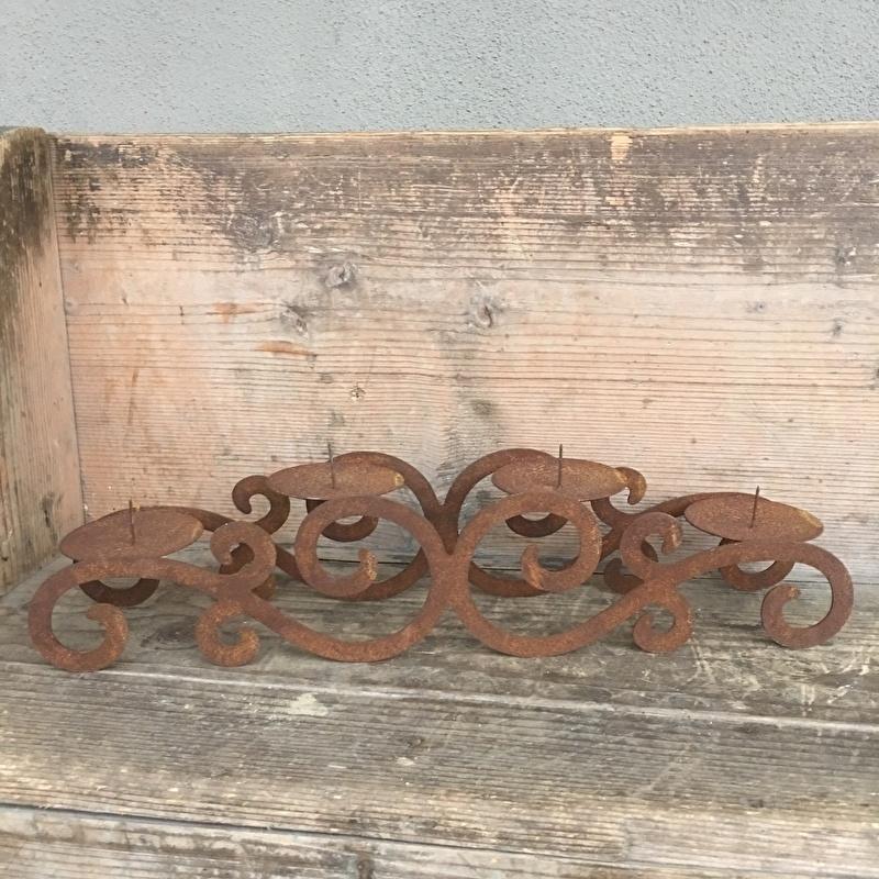 Smeedijzeren roest metalen kandelaar 4 kaarsen landelijk brocant stoer