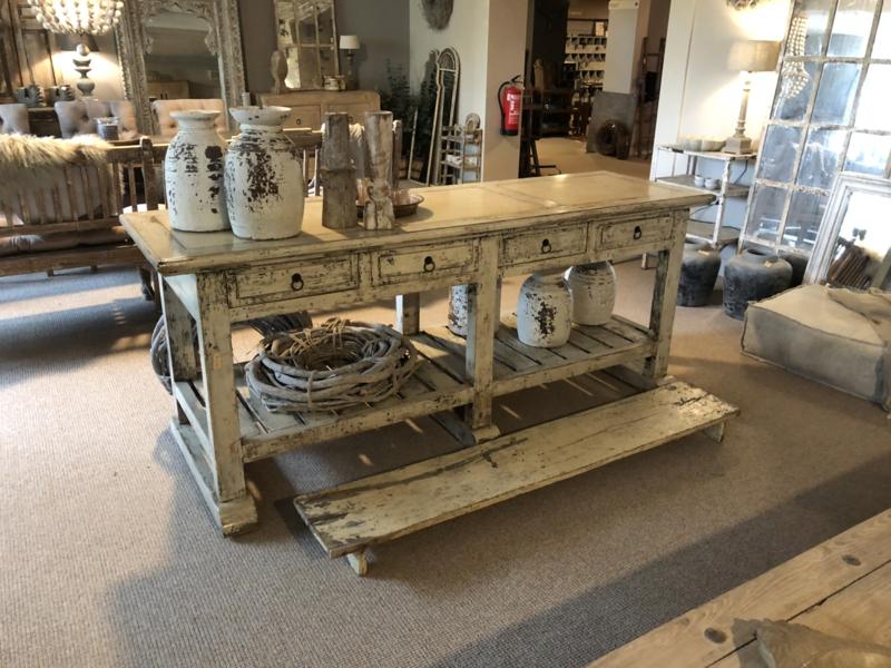 Stoere oude houten witte tafel werkbank keukenblok kookeiland met lades marmer inleg blad sidetable keukentafel stoer vintage doorgescheurd landelijk industrieel 209 x 64 x 87 cm