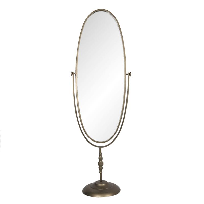 Prachtige staande metalen passpiegel spiegel staand landelijk vintage nieuw stoer koperkleurig