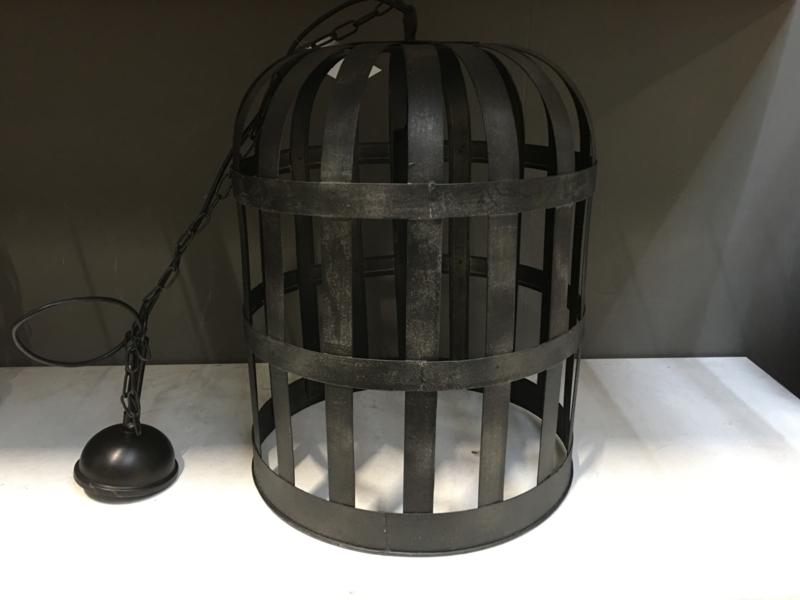 Zwart metalen hanglamp korflamp landelijk stoer industrieel zwart lantaarn lantaarnlamp