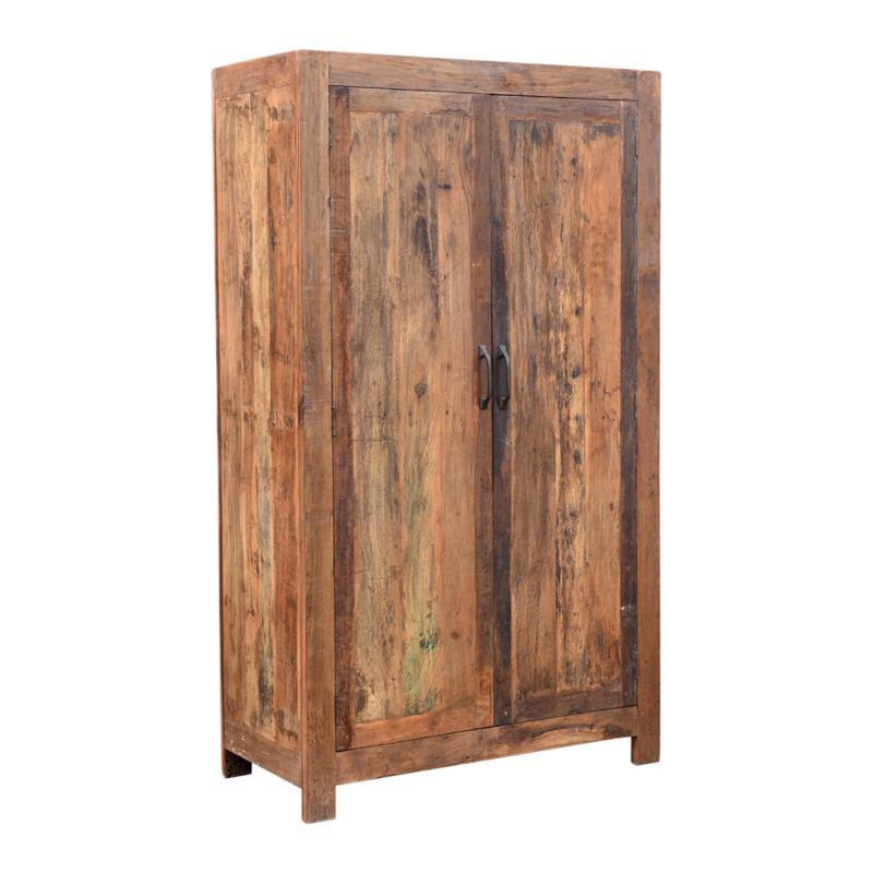Oud houten kast klerenkast 2 deurs Milano kleerkast kastje met legplanken 200 x 123 x 51 cm oud hout 2 deurs keukenkast boekenkast servieskast landelijk industrieel