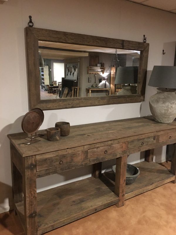 Grote vergrijsd houten spiegel bassano passpiegel 177 x 84 cm landelijk stoer industrieel