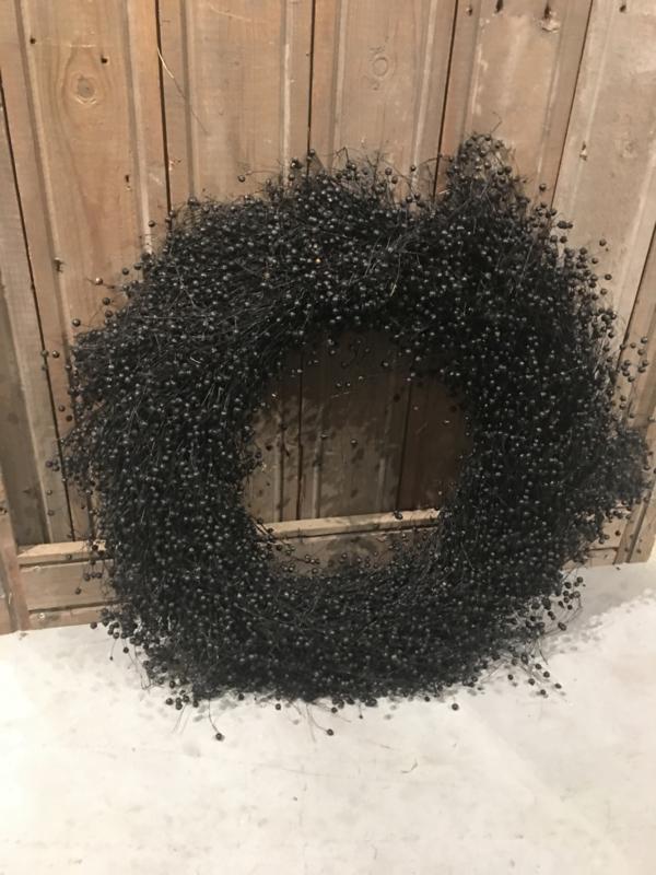 Prachtige volle vlaskrans 60/65 cm landelijk brocant zwart zwarte natuurlijke naturel nature