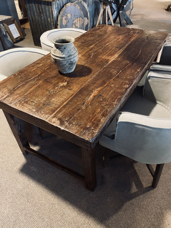 Oude landelijke industriële eettafel naturel 182 x 90 cm hout houten Sidetable bureau buro tuintafel klaptafel werkbank werktafel oud vintage stoer