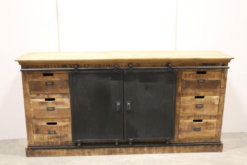 Houten televisiekast tvmeubel schuifdeuren sideboard sidetable kast hout houten metalen schuifdeur  dressoir landelijk industrieel vintage