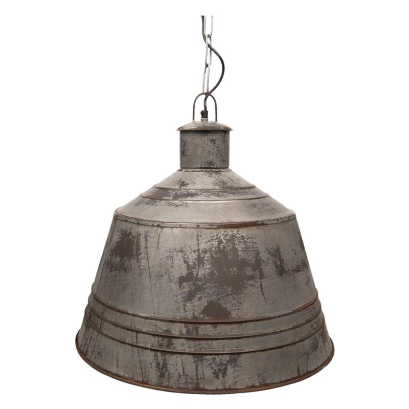 Stoere zinken metalen hanglamp rond industrieel landelijk stoer vintage