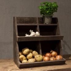 Oud houten gruttersbak stoer landelijk vakkenbak kastje keukenkastje stoer grijs antraciet schap rek hout
