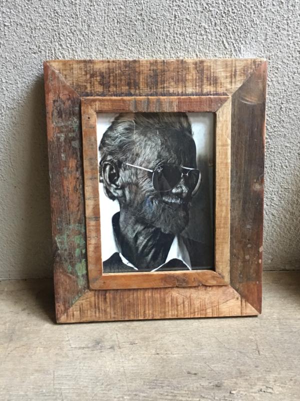 Oude houten Fotolijst fotolijstje sloophout landelijk vintage oud hout 15 x 10 cm