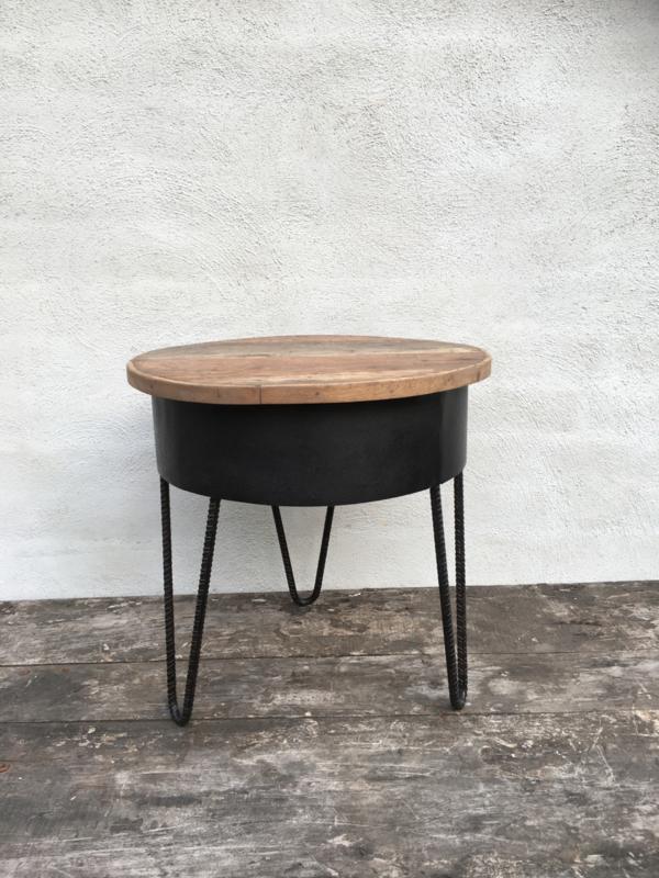 Stoer industrieel tafeltje bijzettafeltje kruk krukje zuil sokkel 40 cm metaal hout industrieel vintage landelijk zwart naturel