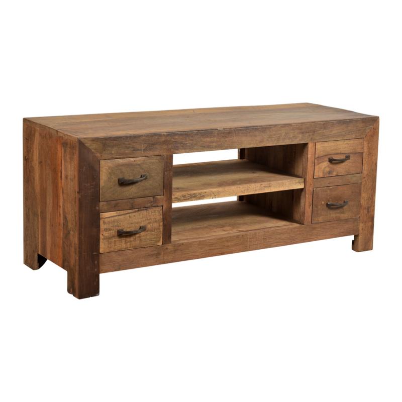 Stoer oud vergrijsd houten dressoir kast tv audio meubel 150 x 60 x 45 cm televisiekast kast sidetable landelijk vergrijsd oud massief Bassano Milano