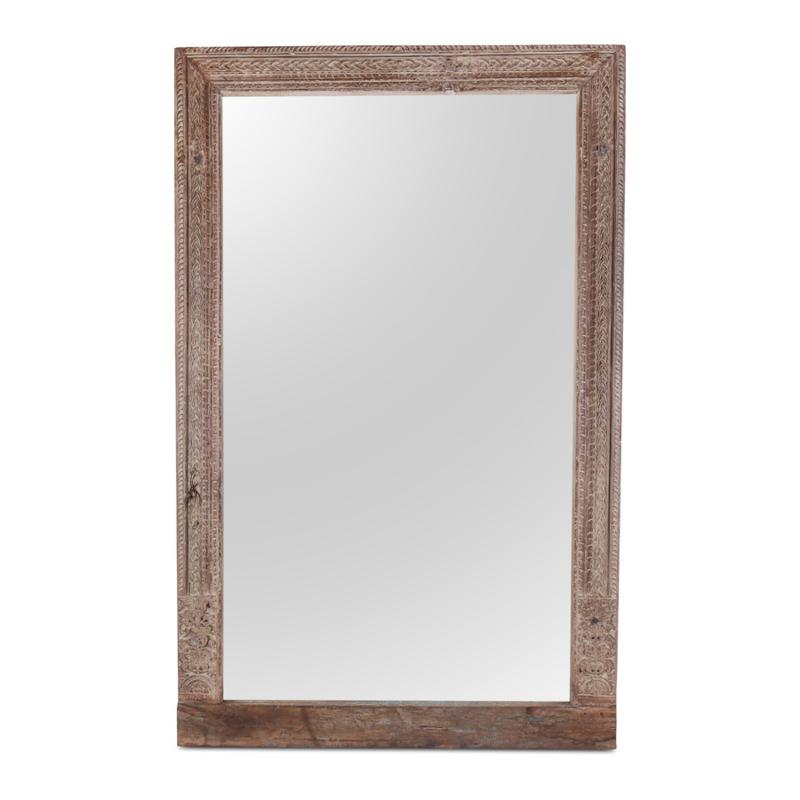 Prachtige grote oude houten spiegel passpiegel 206 x 130 x 8 cm landelijk houtsnijwerk whitewash vergrijsd