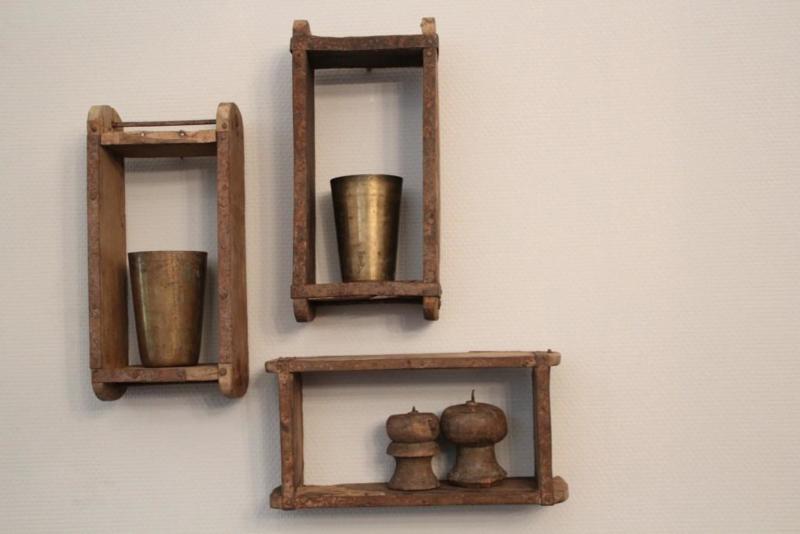 Wandkastje gemaakt van oude baksteenmal brickmal landelijk stoer industrieel vintage kastje wanddecoratie 30 x 10 cm