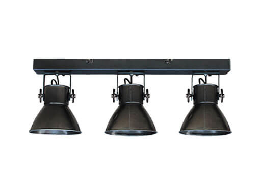 Industriële oud gerecycled metalen hanglamp wandlamp vintage urban zwarte zwart plafondlamp 3 spots spot kappen metaal verstelbaar landelijk stoer vintage