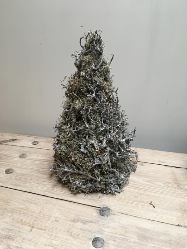 Vergrijsd houten kerstboom kerstboompjes klein kerstboompje boom boompje bonsai mos takken gedroogd grijs
