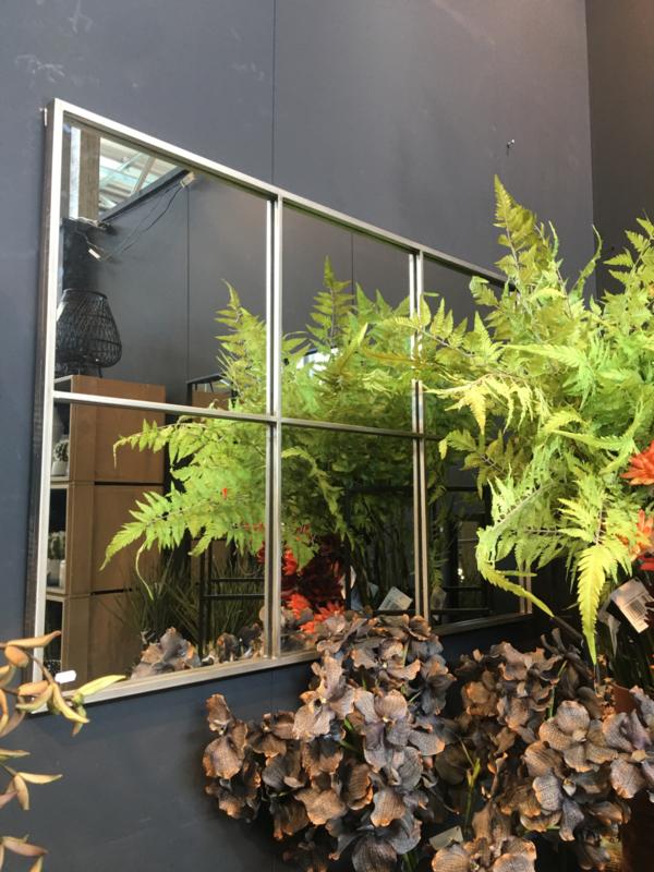 Groot grijs metalen stalraamspiegel 118 x 80 cm rechthoekig stalraam kozijn venster tuinspiegel spiegel kozijn venster landelijk industrieel vintage