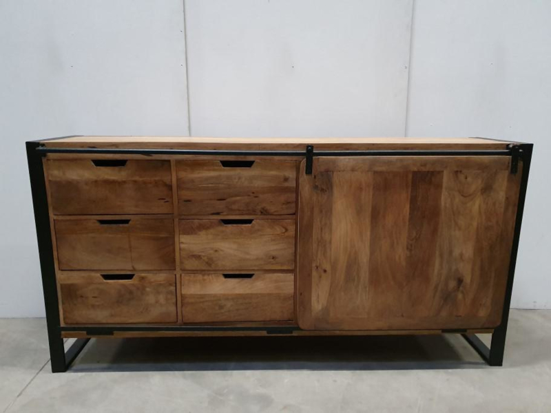 Industriële kast dressoir schuifdeur 180 x 40 x H90 cm hout metaal houten metalen landelijk industrieel