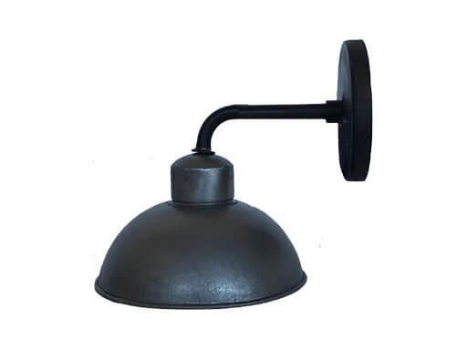 Zwart grijze metalen wandlamp stallamp ronde kap 22 cm industrieel landelijk stoer vintage
