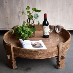 Stoer houten tafel salontafel bijzettafel ghatti grinder 70 cm kandelaar naturel M maalteen  opstapje rond landelijk Ibiza vintage india