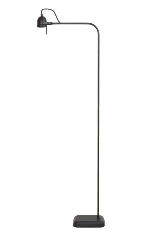 Zwart metalen leeslamp halogeen led  inclusief dimmer schakelaar zwarte leeslampje industriele vloerlamp staande lamp 145 cm landelijk stoer industrieel chique