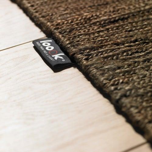 Groot handgewoven 100 % hennep vloerkleed kleed carpet karpet brown 200 x 300 cm