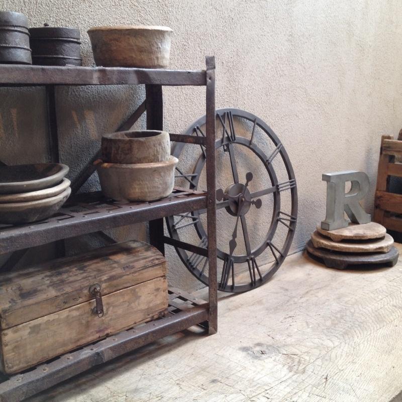 Metalen industriële klok wandklok doorsnede 50 cm stationsklok bruin landelijk industrieel vintage