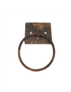 Metalen beslag ring muurring metaal handvat oog 17 x 12 x 2 cm zwart bruin roest
