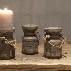 Vergrijsd houten kandelaar Nepal pot met touw grijs hout landelijk stoer small 13 x 10 x 10 cm