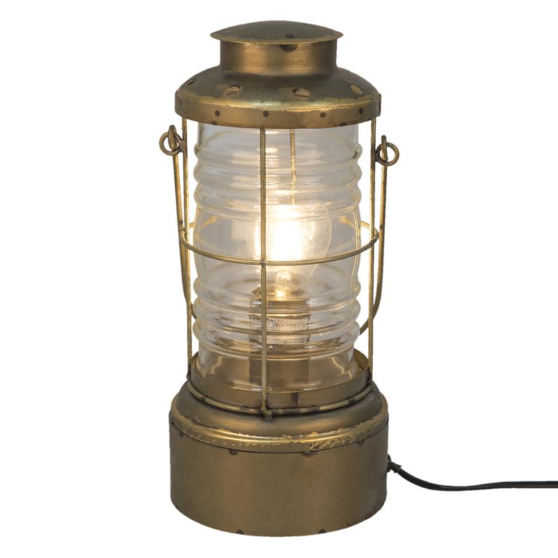 Metalen scheepslamp tafellamp lamp koperkleur landelijk vintage industrieel