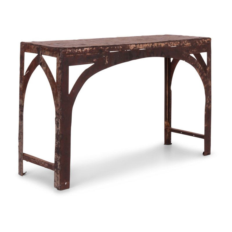 Oud metalen tafel wandtafel 123 x 41 cm  metaal recycled tvmeubel tv dressoir sidetable grijs bruin landelijk stoer industrieel vintage urban wandmeubel wastafel