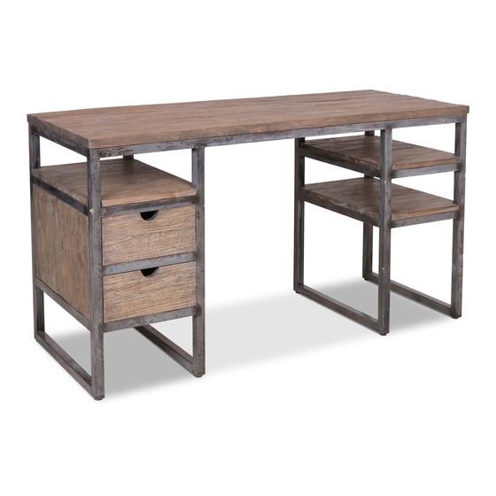 Stoer vergrijsd houten buro bureau tafel werktafel schrijftafel 141 x 77 cm  ladeblok sidetable landelijk industrieel metalen frame grijs