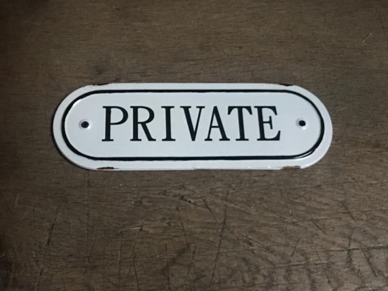 Gietijzeren plaatje emaille deur private Prive  bordje deurbordje naambordje landelijk nostalgisch  industrieel grootmoederstijd brocant