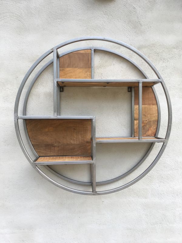 Rond smeedijzeren wandrek wandplank 80 cm landelijk verspringend wandplank wandconsole schap rek  industrieel metaal hout strak eenvoudig wandplank houten legplanken vintage staal stalen frame