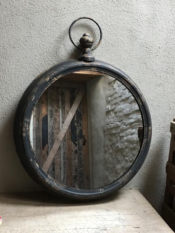 Grote ronde industriële landelijke spiegel rond industrieel landelijk vintage zwart old look