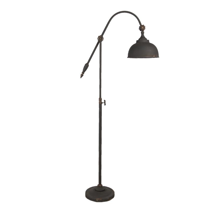 Prachtige landelijke metalen vloerlamp staande lamp leeslamp zwart bruin old look