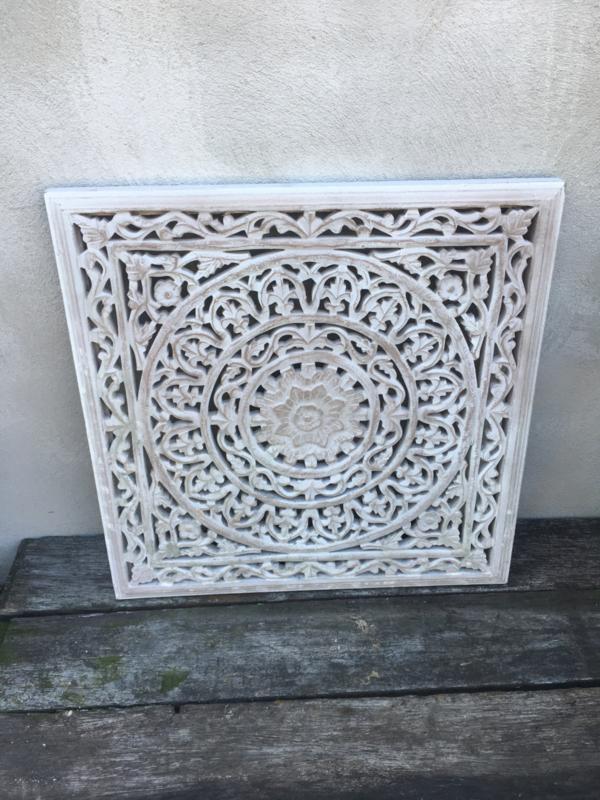 Vierkant houten paneel Wandpaneel whitewash licht grijs light grey wandornament tegel 60 x 60 cm sand zand wandornament landelijk Mandela afbeelding landelijk
