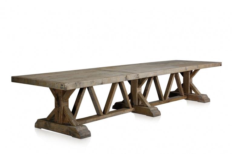 Grote oud grenen tafel eettafel boerentafel landelijk stoer robuust doorleefd 430 x 110 cm antiek gerecycled grenen vergrijsd