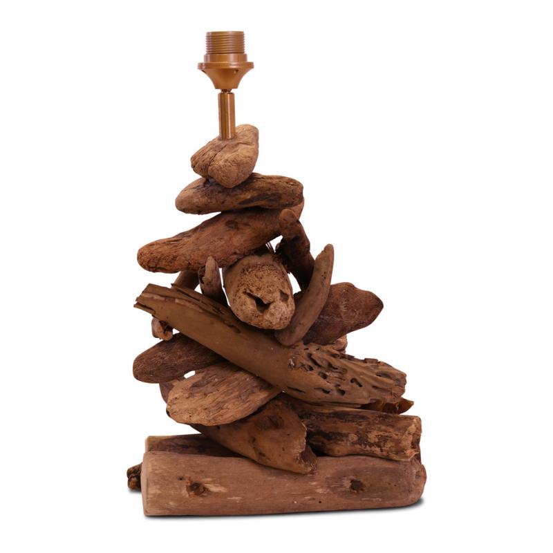 Vergrijsd houten drijfhout drijfhouten driftwood lamp small lampenvoet landelijk 48 x 28 x 40 cm