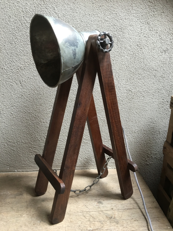 Vintage industriële lamp tafellamp Burolamp bureaulamp landelijk middel industrieel hout metaal zink zinken