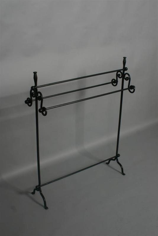Zwart metalen handdoekrek handdoekenrek rek stang droogrek kledingrek 82 x 25 x H100 cm landelijk zwart metaal