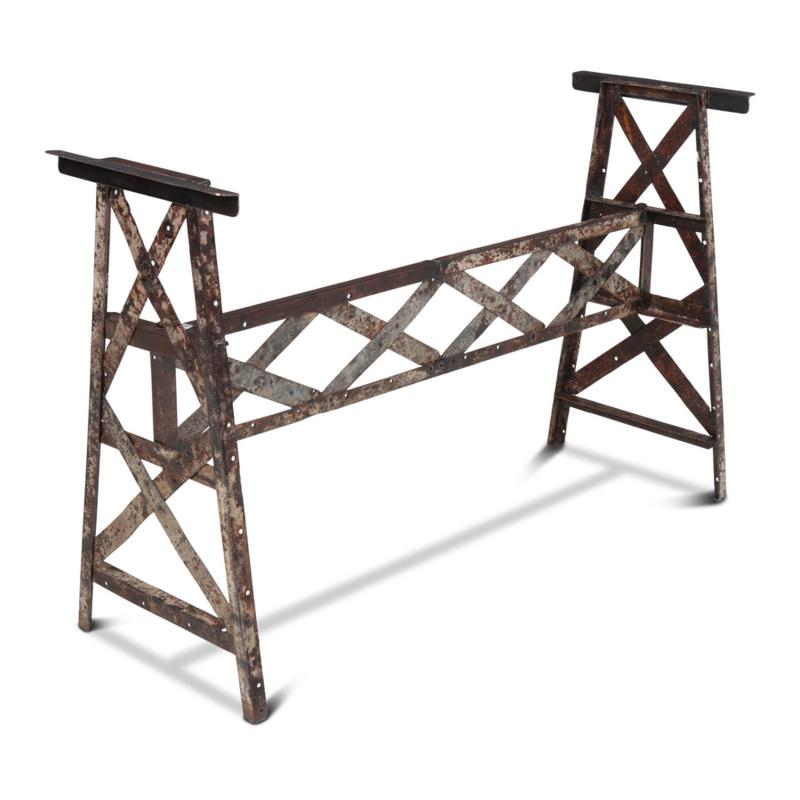 """"""" Oud """" metalen onderstel gerecycled metaal madras 118 x 40 x H73 cm industrieel stoer landelijk vintage urban grijsbruin grijs bruin"""
